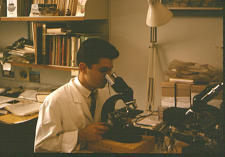 Jerrold Ward as a student in a lab coat and looking through a microscope, studying leukemia