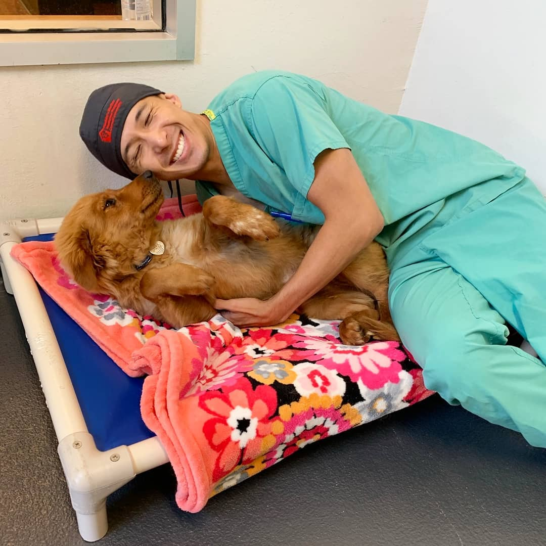 2019 Shelter Medicine Intern Wesley Cheung cuddles a pup at the Tompkins County SPCA.