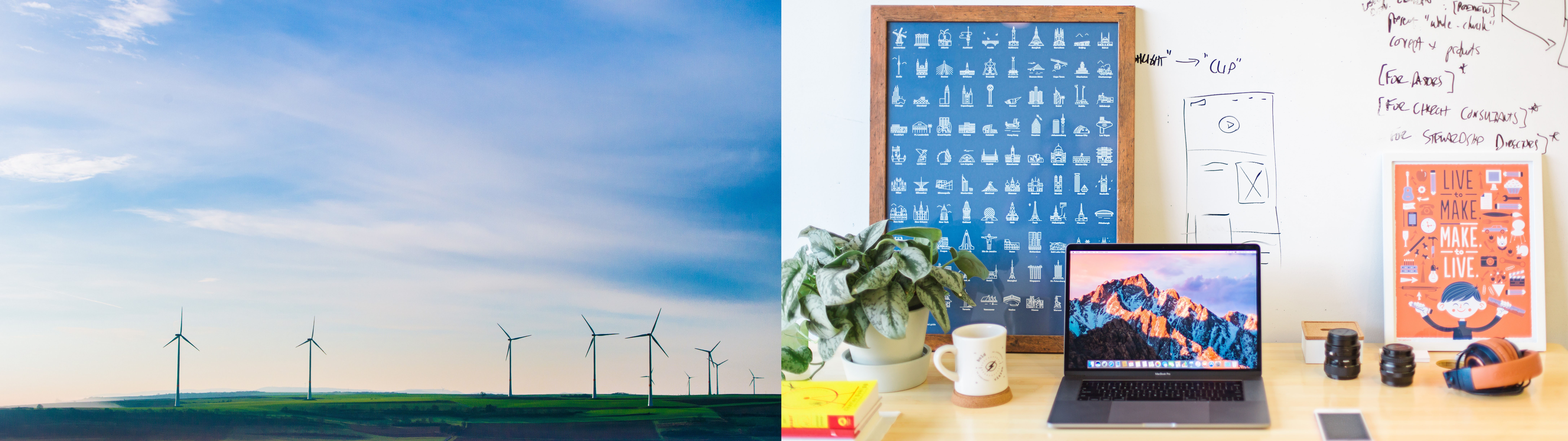 Image of windmills and a computer desk