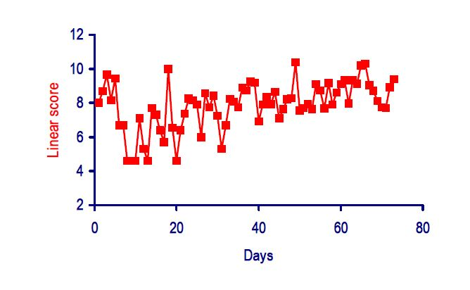 Typical somatic cell count pattern of a chronically infected cow