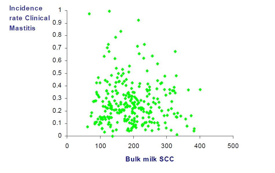 Relationship between bulk milk SCC and clinical mastitis incidence