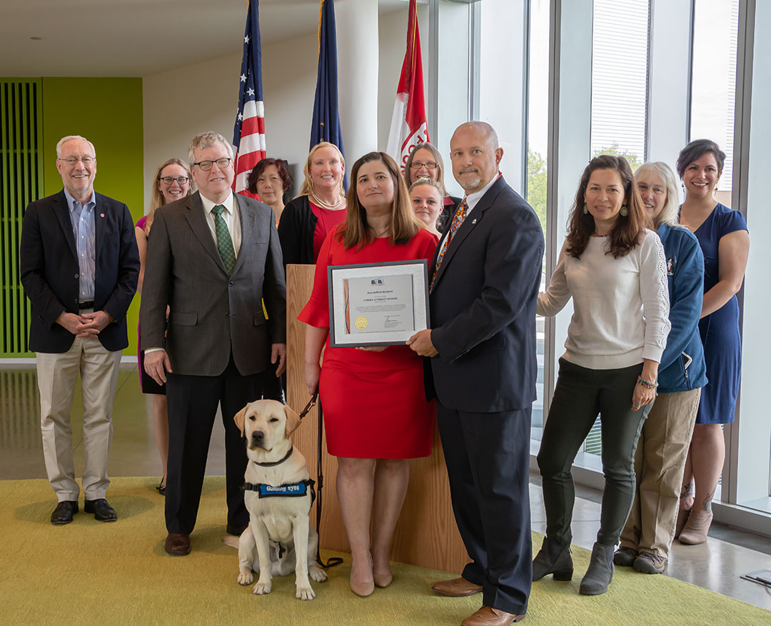 Cornell leadership, A2LA and biobank staff at a ceremony May 22 celebrating the Cornell Veterinary Biobank achieving international accreditation.