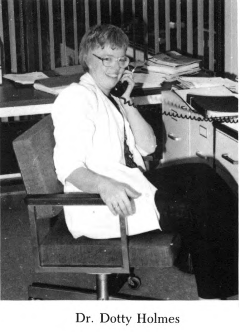 Dorothy Holmes, D.V.M. '58, Ph.D. '73, pictured in the 1982 college yearbook.