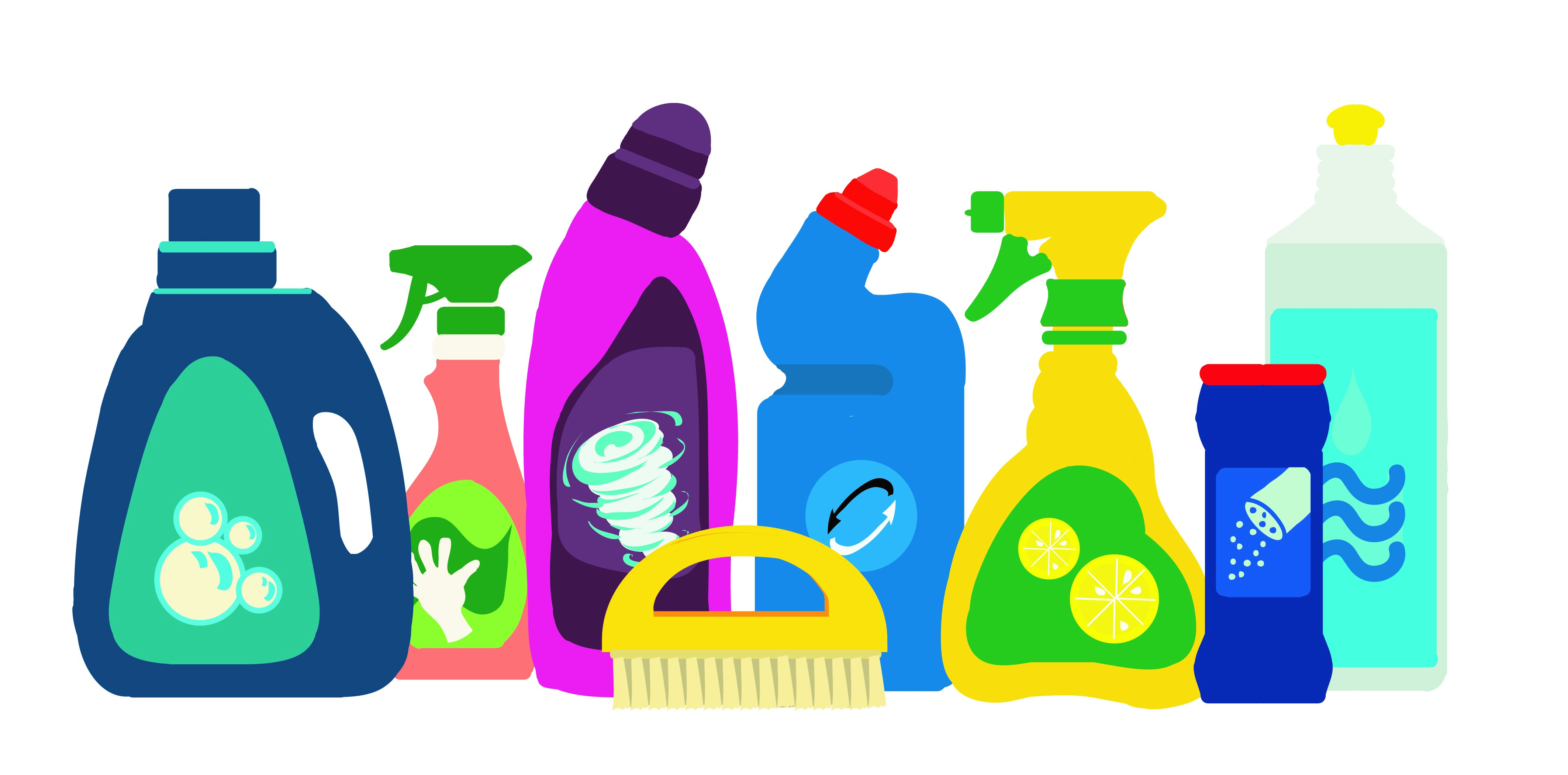 Illustrations of household chemicals toxic to cats