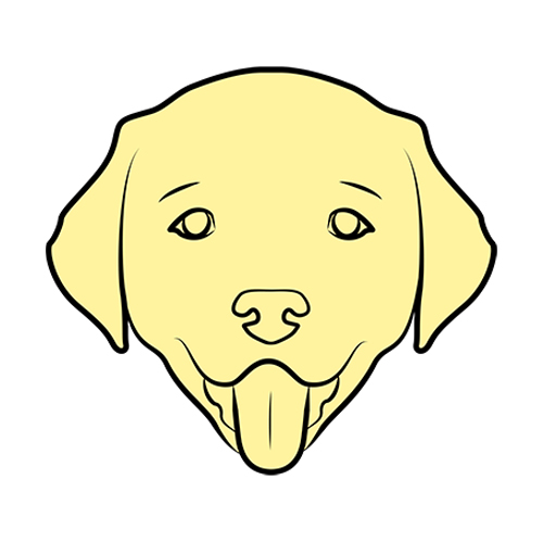 Drawing of a dog's face