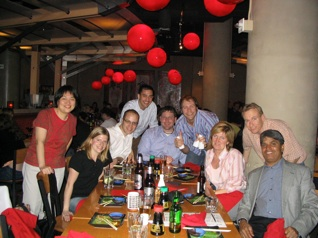 Group at a red lantern restaurant