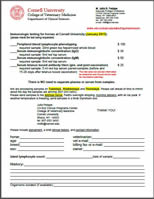 Equine Immunologic Testing submission form