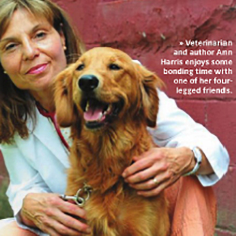 Veterinarian Ann Harris with one of her dogs