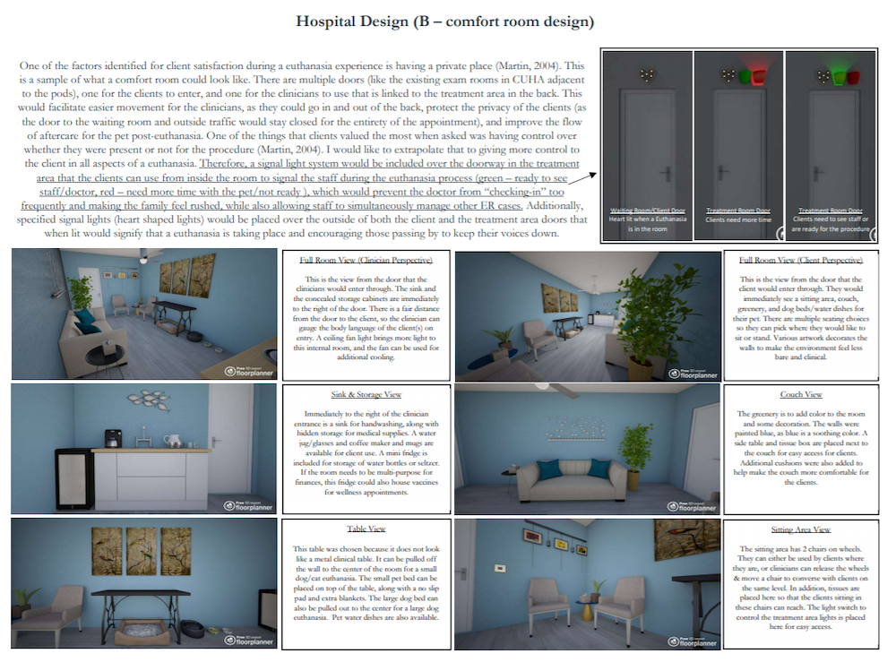 A layout design of a comfort room for the Cornell animal hospital
