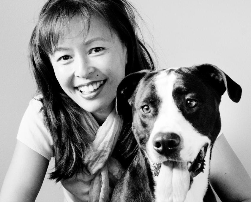 Woman with happy dog