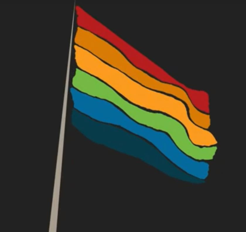 a graphic illustration of a rainbow flag.
