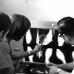 Circa mid 1980, second year students review radiographs.