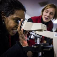 Tour guest looks through a microscope