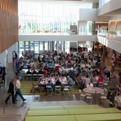 Attendees in the atrium