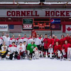 A group shot of the hockey teams