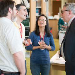 Dean Warnick speaks with Reunion attendees