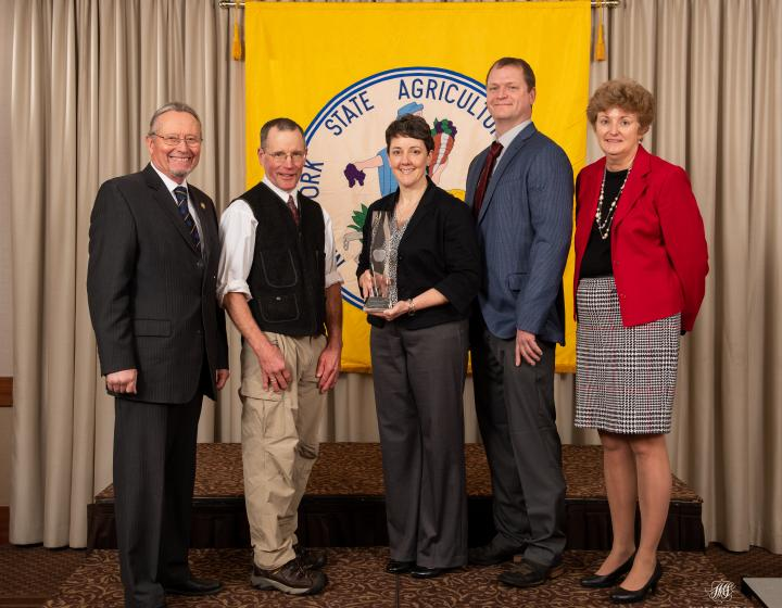 From L to R: Commissioner Richard Ball – NYS Department of Agriculture & Markets, Dr. Peter Ostrum, Dr. Stacy Kenyon, Dr. Craig Pauly, Elizabeth Claypoole – NYS Ag Society President. (Courtesy Photo)