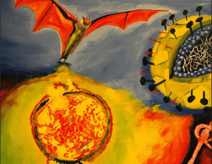 an semi-abstract oil painting of a fruit bat with large viruses around it