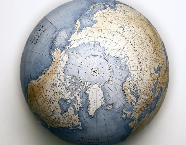 View of a globe from the North Pole, photo by Gael Gaborel/Unsplash