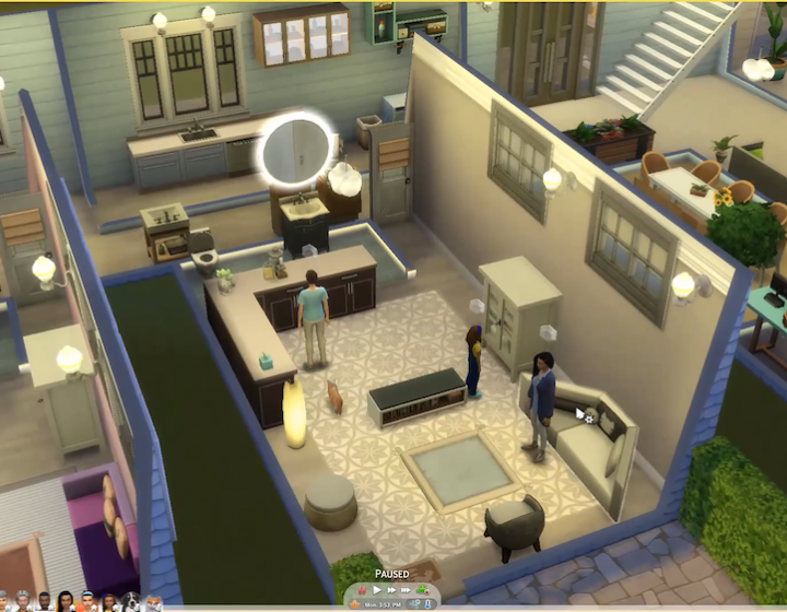 A screenshot from the video game The Sims, displaying a cross section of an animal hospital designed for end-of-life care