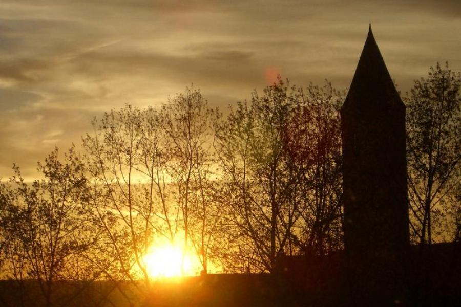 Cornell tower sunset