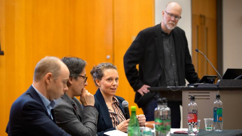 From left, Jeremy Wallace, associate professor of government; Derek Chang, associate professor of history; Gen Meredith, associate director of the Cornell Master of Public Health Program; and Allen Carlson, director of CAPS, at a panel discussion on the c