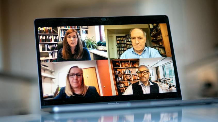 A collage of faculty on a Zoom screen: Clockwise from top left: Cynthia Leifer, Gary Koretzky, Avery August and Deborah Fowell.