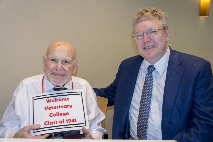 Dr. Samuel Bender with Dean Lorin Warnick at the CVM reunion